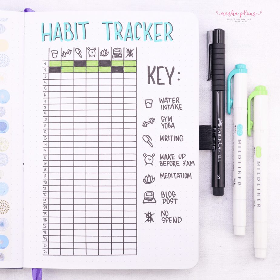 The Ultimate Guide To Bullet Journal Habit Tracker - vertical tracker | Masha Plans