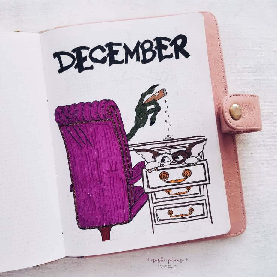 My December Bullet Journal Setup Christmas Theme - Cover Page | Masha Plans
