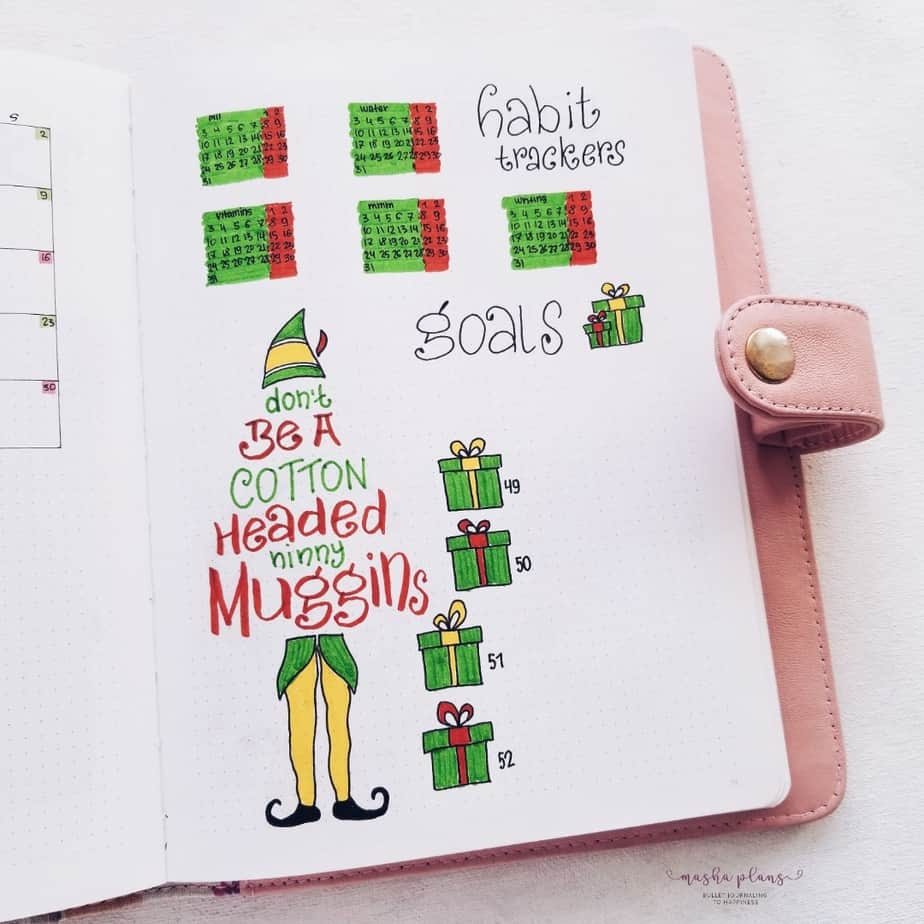 My December Bullet Journal Setup Christmas Theme - Habit Tracker and Goals | Masha Plans