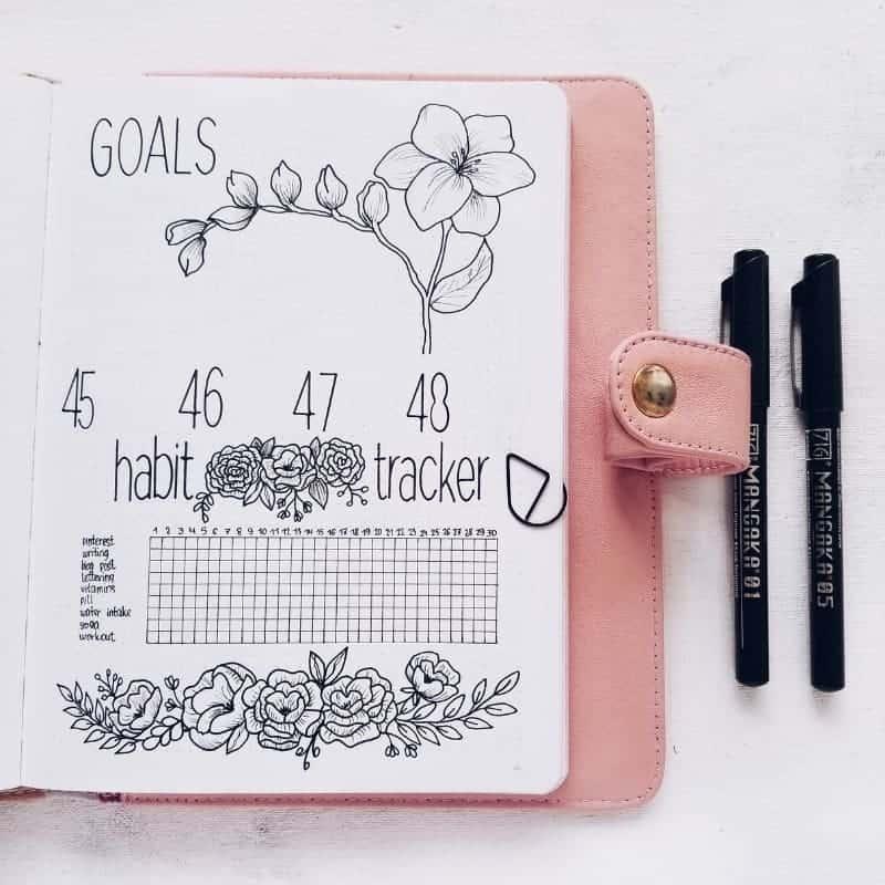 Plan With Me - Floral Bullet Journal Setup, Goals and Habit Tracker | Masha Plans