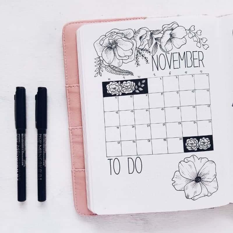 Plan With Me - Floral Bullet Journal Setup, Monthly Log | Masha Plans