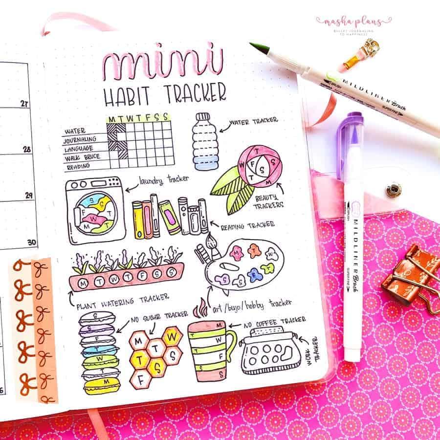 Bullet Journal Habit Tracker ideas | Masha Plans