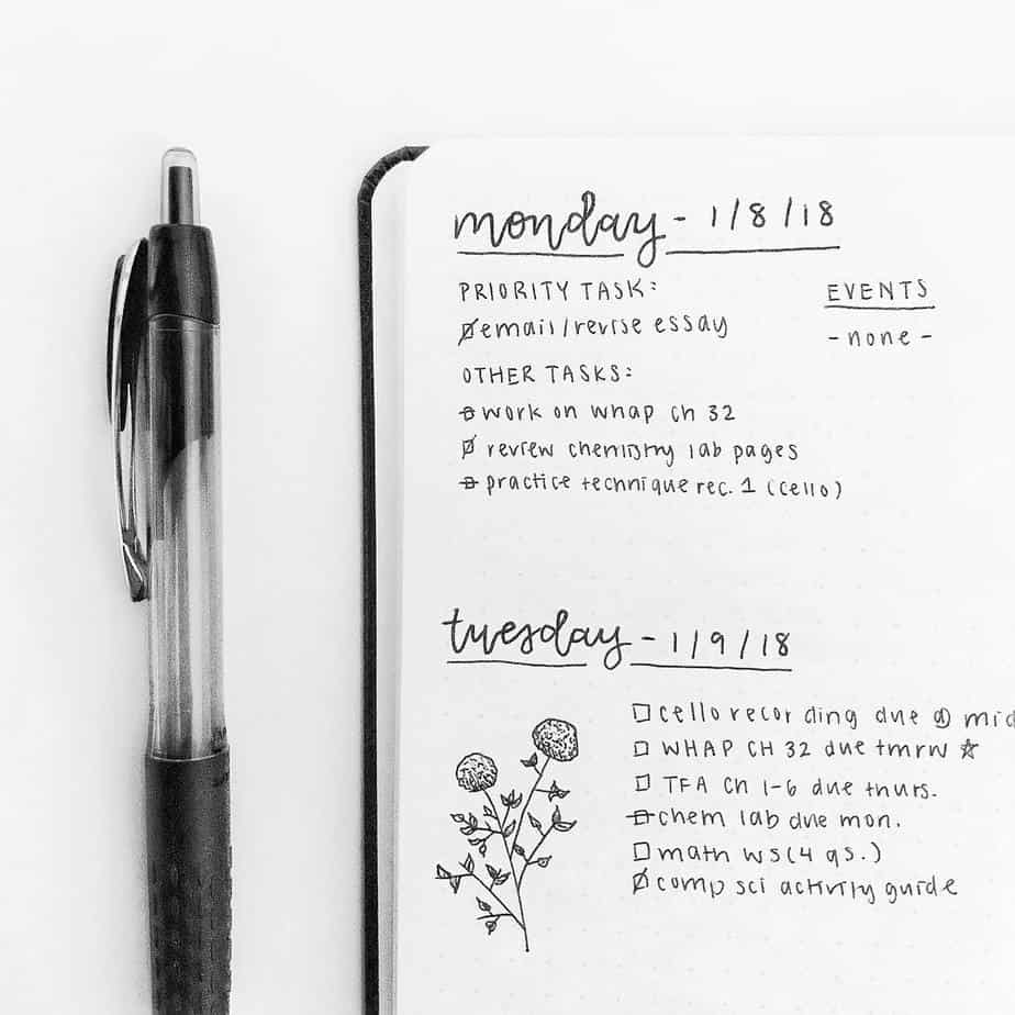 Minimalist Bullet Journal Weekly setup by @cafe.studyy | Masha Plans