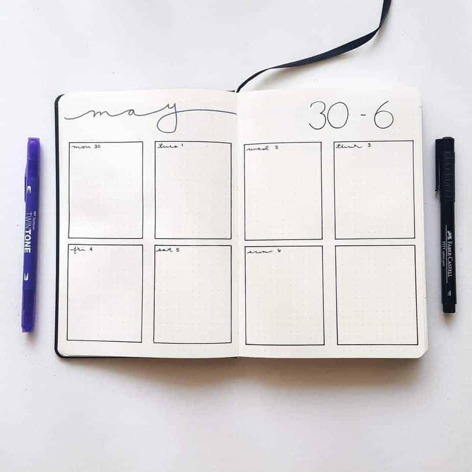 Minimalist Bullet Journal Weekly spread by @elizabethjournals | Masha Plans