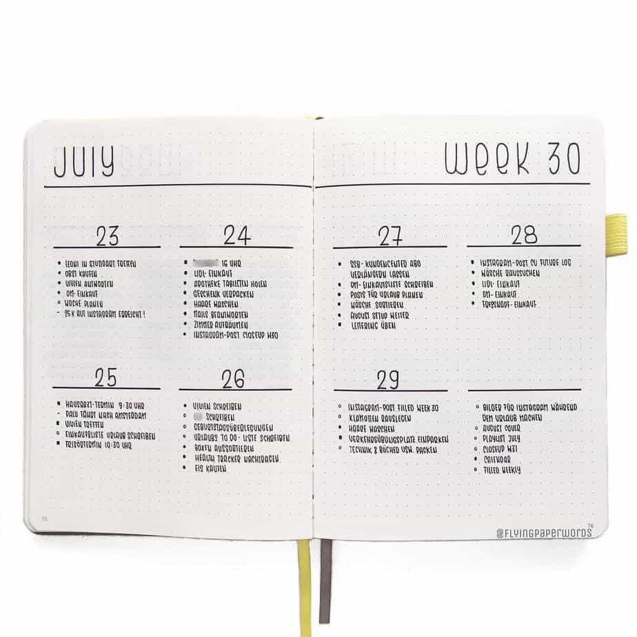 11 Easy Minimalist Bullet Journal Weekly Spreads for Busy People, spread by @flyingpaperwords | Masha Plans