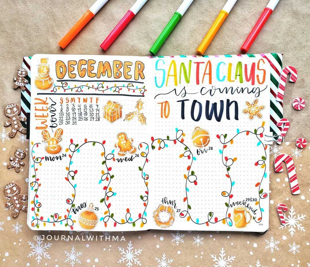 Christmas Themed Weekly Spread by @journalwithma | Masha Plans