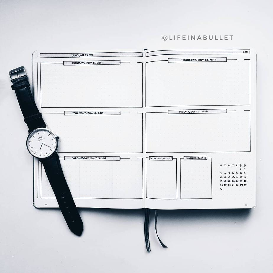 11 Easy Minimalist Bullet Journal Weekly Spreads for Busy People, spread by @lifeinabullet | Masha Plans