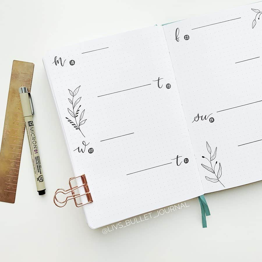 Minimalist Bullet Journal Weekly spread by @livs_bullet_journal | Masha Plans