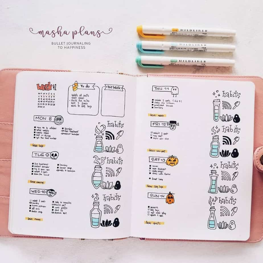 Weekly spread with a weekly habit tracker | Masha Plans