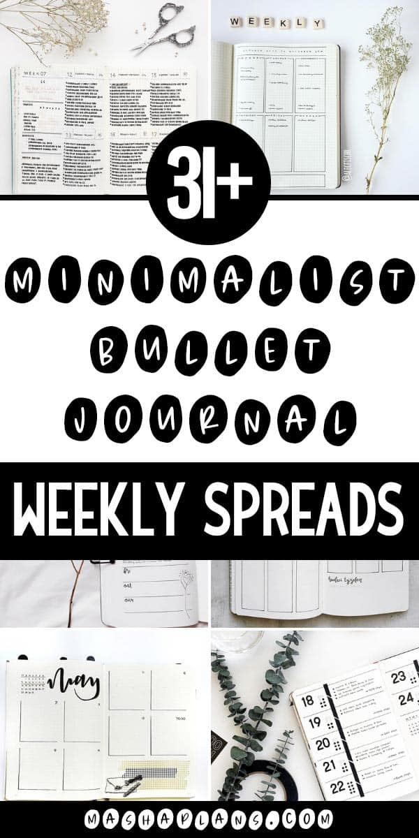 31+ Minimalist Bullet Journal Weekly Spread | Masha Plans