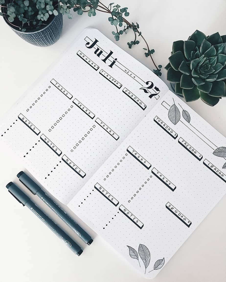 Minimalistic Bullet Journal Weekly spread by @minimalistic.journal | Masha Plans