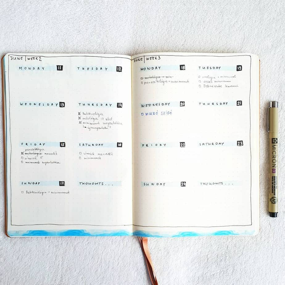 Minimalist Bullet Journal Weekly spread vy @studyclinic | Masha Plans
