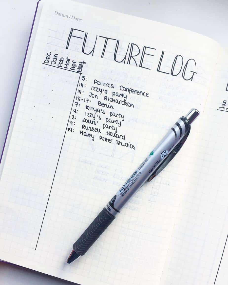 How To Plan Your Year With Bullet Journal Future Log, spread by @minimaliststudy | Masha Plans