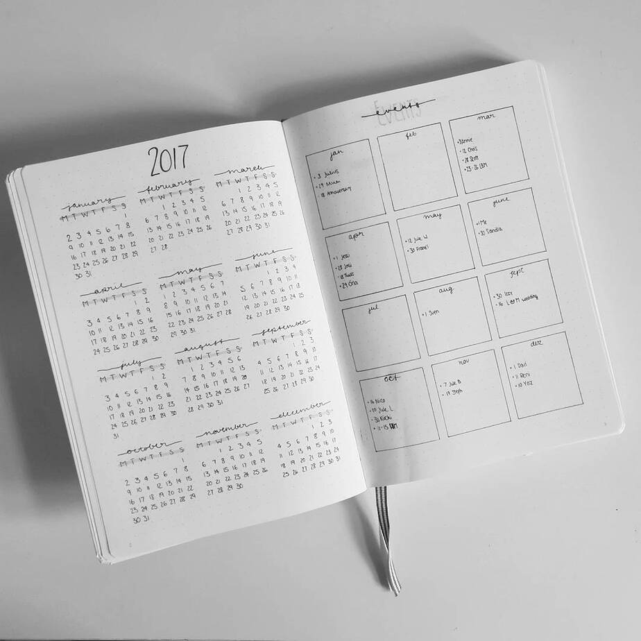 How To Plan Your Year With Bullet Journal Future Log, spread by @black.tea.books | Masha Plans