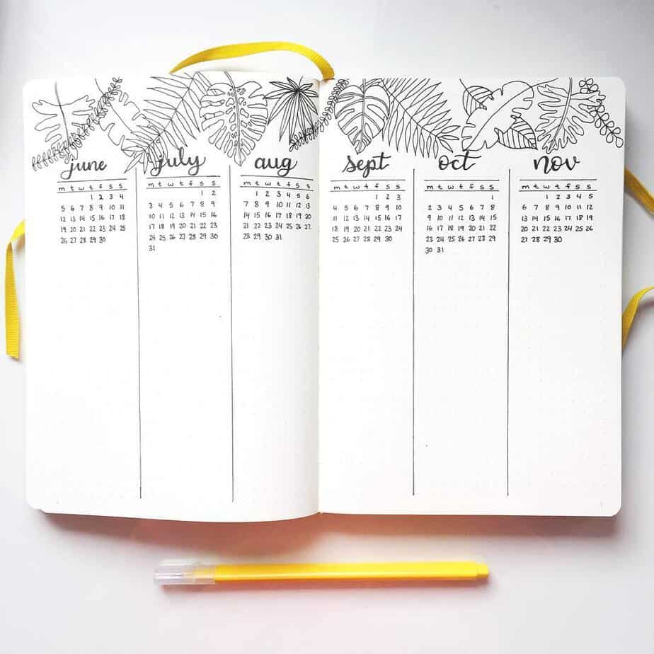 How To Plan Your Year With Bullet Journal Future Log, spread by @maplebujo | Masha Plans