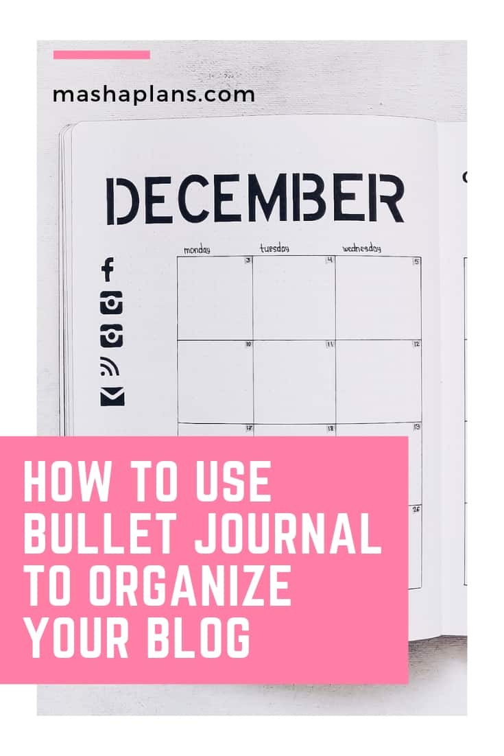 Bullet Journal Pages To Organize Your Blog | Masha Plans