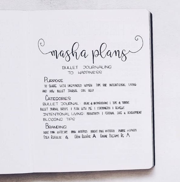 Bullet Journal Pages To Organize Your Blog - About Page | Masha Plans