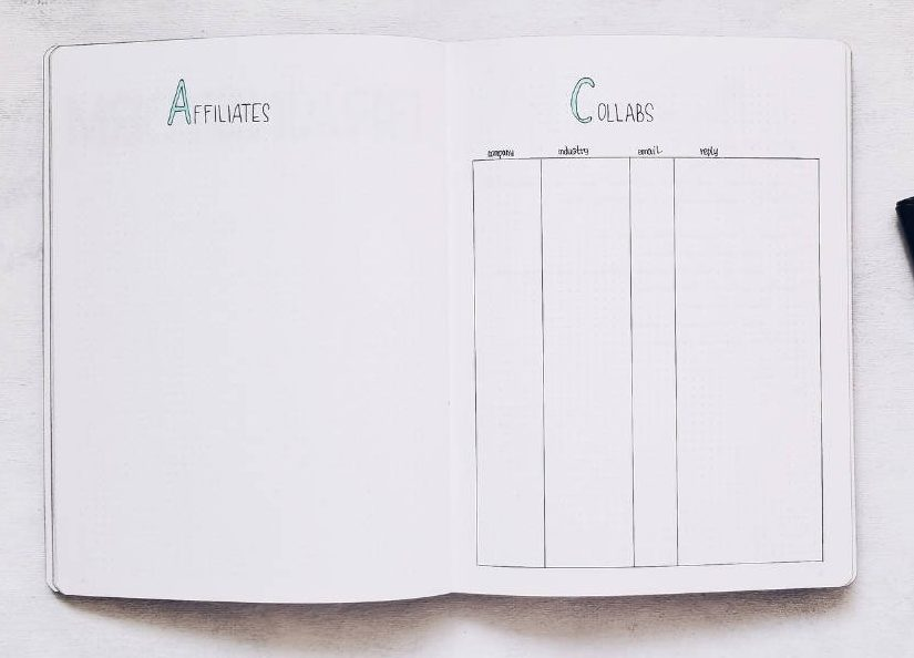 Bullet Journal Pages To Organize Your Blog - Collaboration Page | Masha Plans