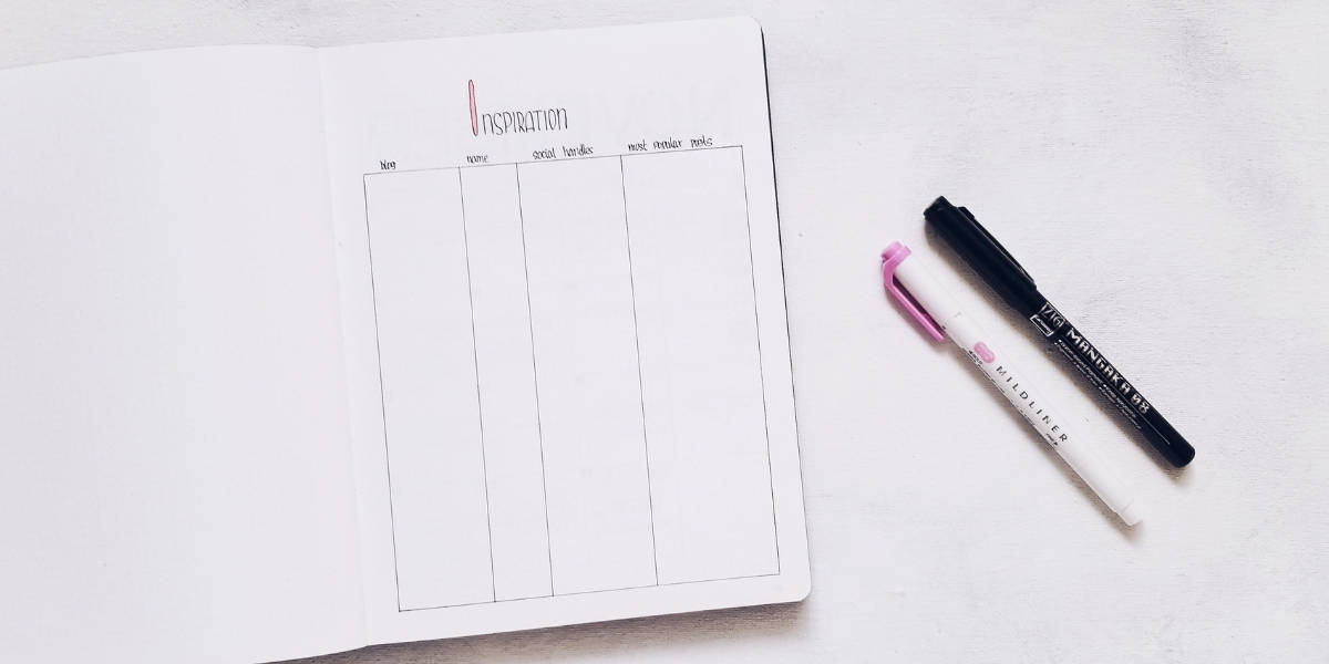 Bullet Journal Pages To Organize Your Blog - Inspirations Page | Masha Plans