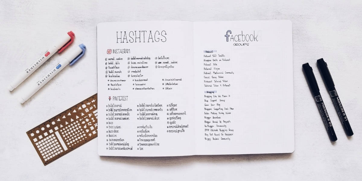 Bullet Journal Pages To Organize Your Blog - Social Media Page | Masha Plans