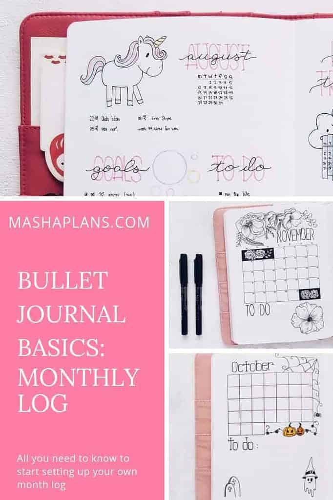 Bullet Journals Basics - Monthly Log | Masha Plans