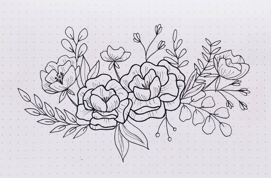 How To Draw Flower Doodles In Your Bullet Journal - Florals With Filler Elements | Masha Plans