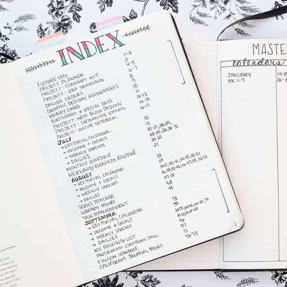 Bullet Journal Index: Tips, Tricks and Inspirations   Masha Plans