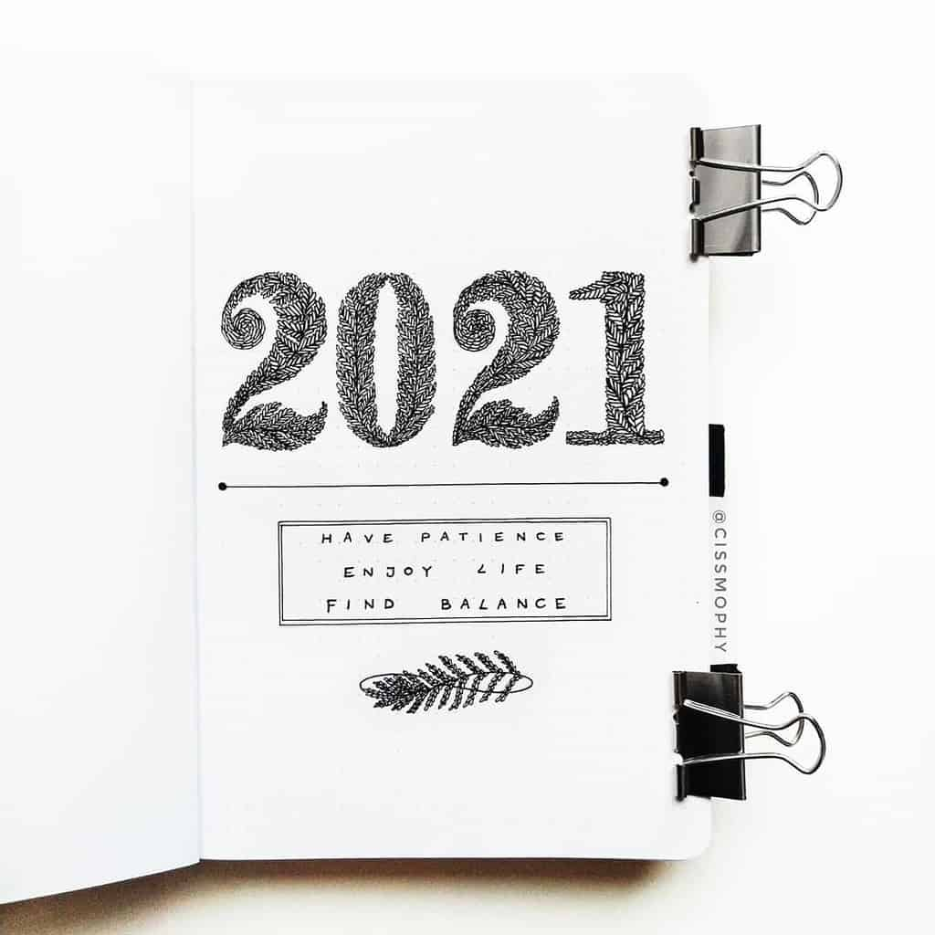 7 Bullet Journal Cover Page Ideas, spread by @cissmophy | Masha Plans