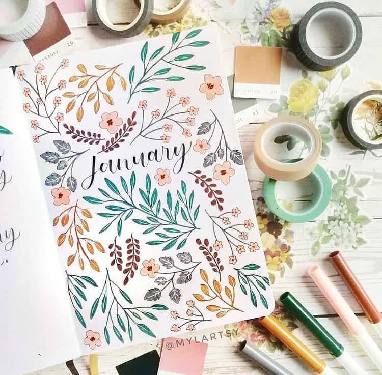 7 Bullet Journal Cover Page Ideas, spread by @bujoislife | Masha Plans