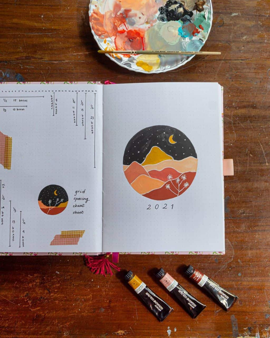 7 Bullet Journal Cover Page Ideas, spread by @ obsessive_procrastinator | Masha Plans