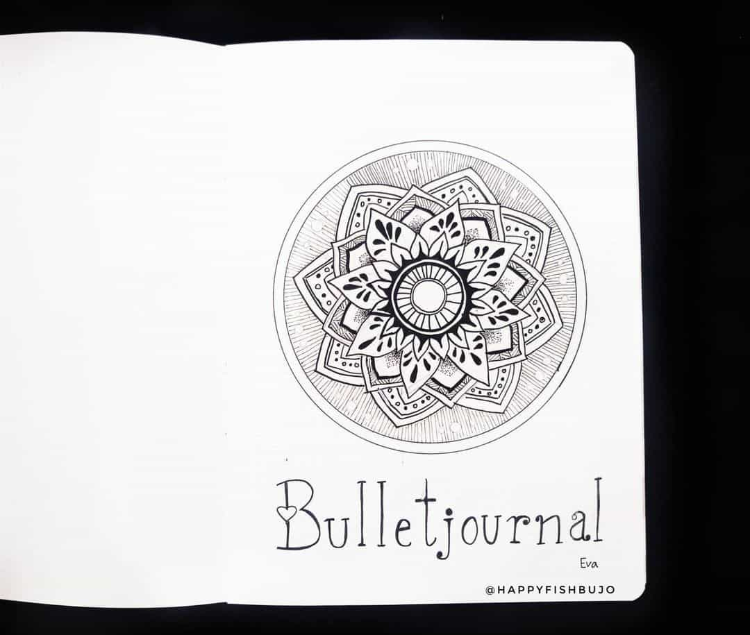 7 Bullet Journal Cover Page Ideas, spread by @happyfishbujo | Masha Plans