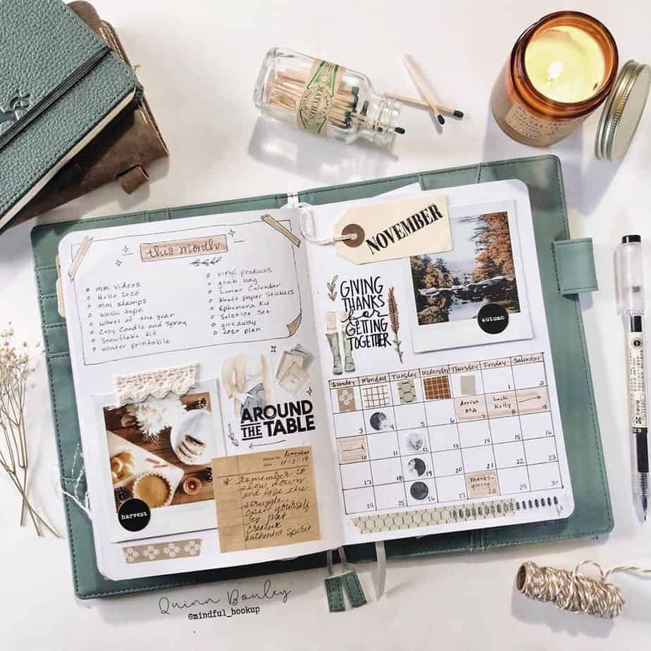 Scrapbooky Bullet Journal Style, spread by @mindful_hookup | Masha Plans