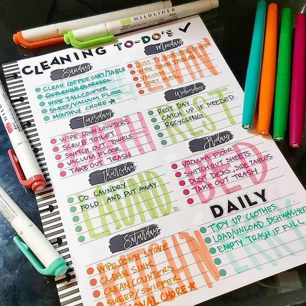 Bullet Journal Cleaning Tracker by @@laplannerfeliz | Masha Plans