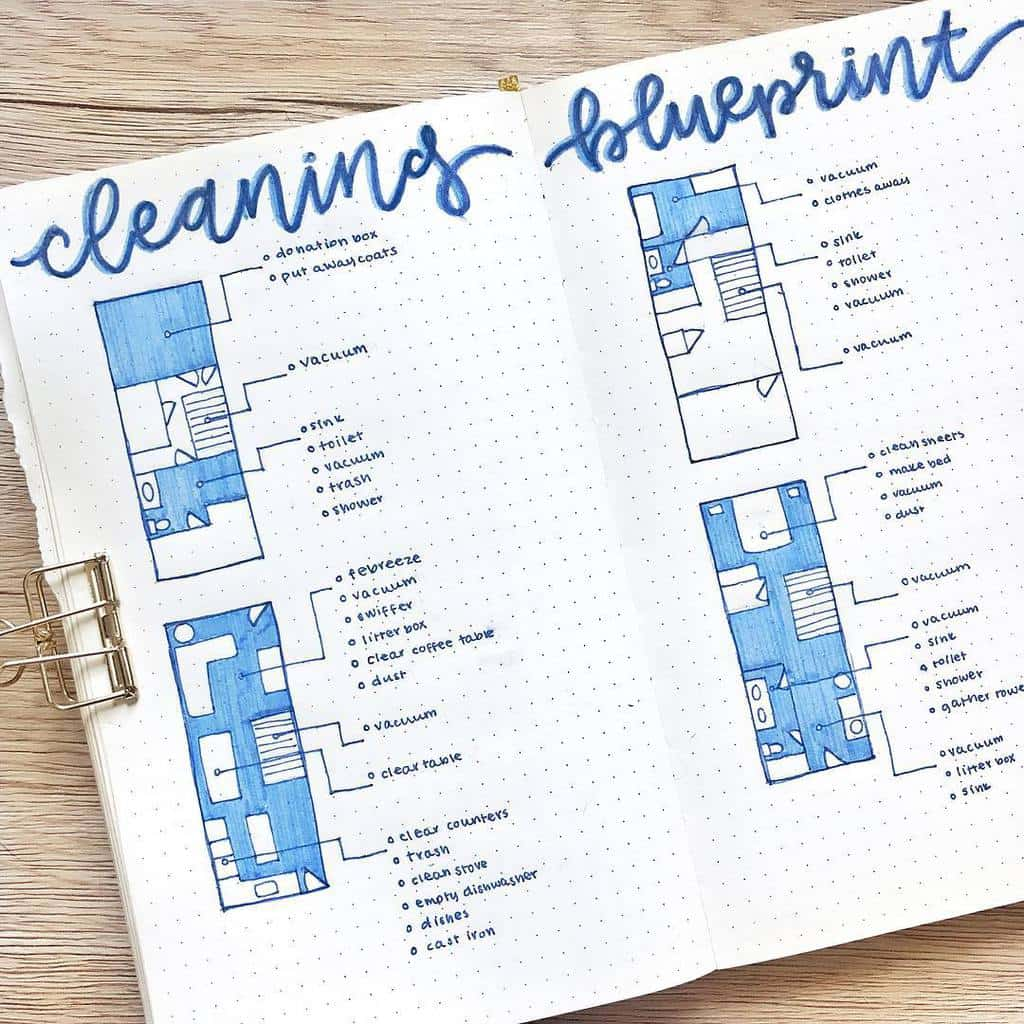 Bullet Journal Cleaning Tracker by @artsybec | Masha Plans