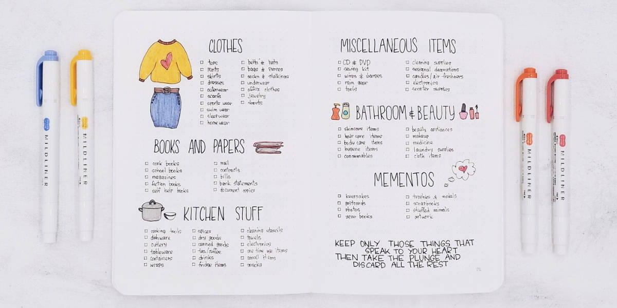 Bullet Journal Ideas To Tackle Spring Cleaning - KonMari Checklist | Masha Plans