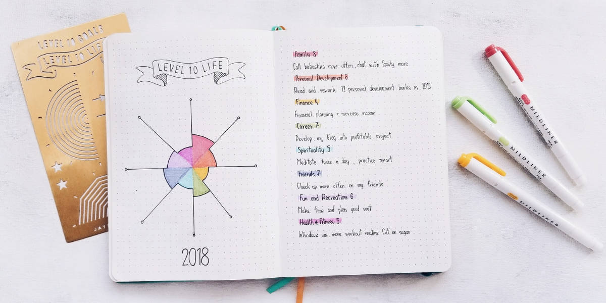Set Your Goals With Level 10 Life In Your Bullet Journal - My Spread | Masha Plans