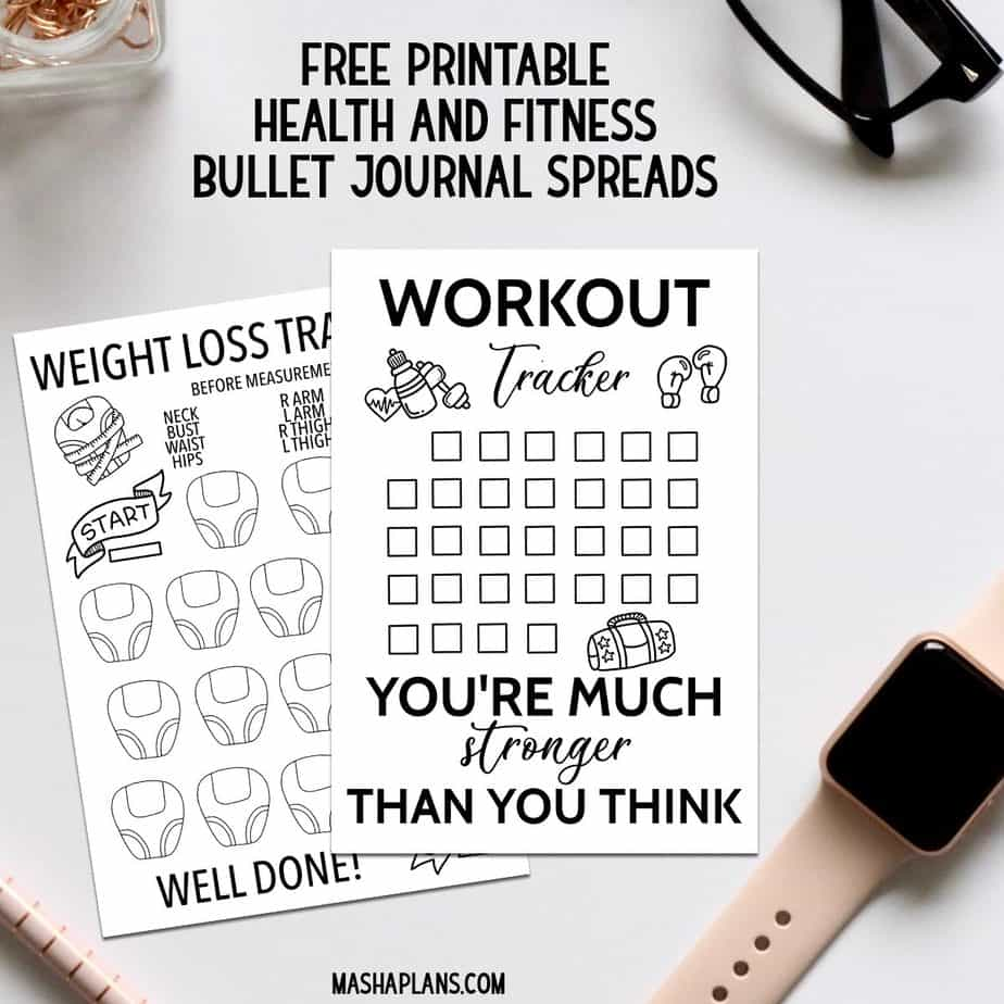 51+ Health And Fitness Bullet Journal Page Ideas | Masha Plans