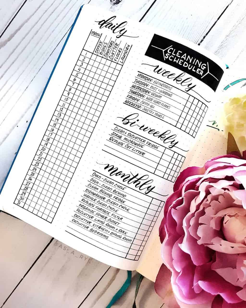 Cleaning Tracker by @asaryepaperie | Masha Plans