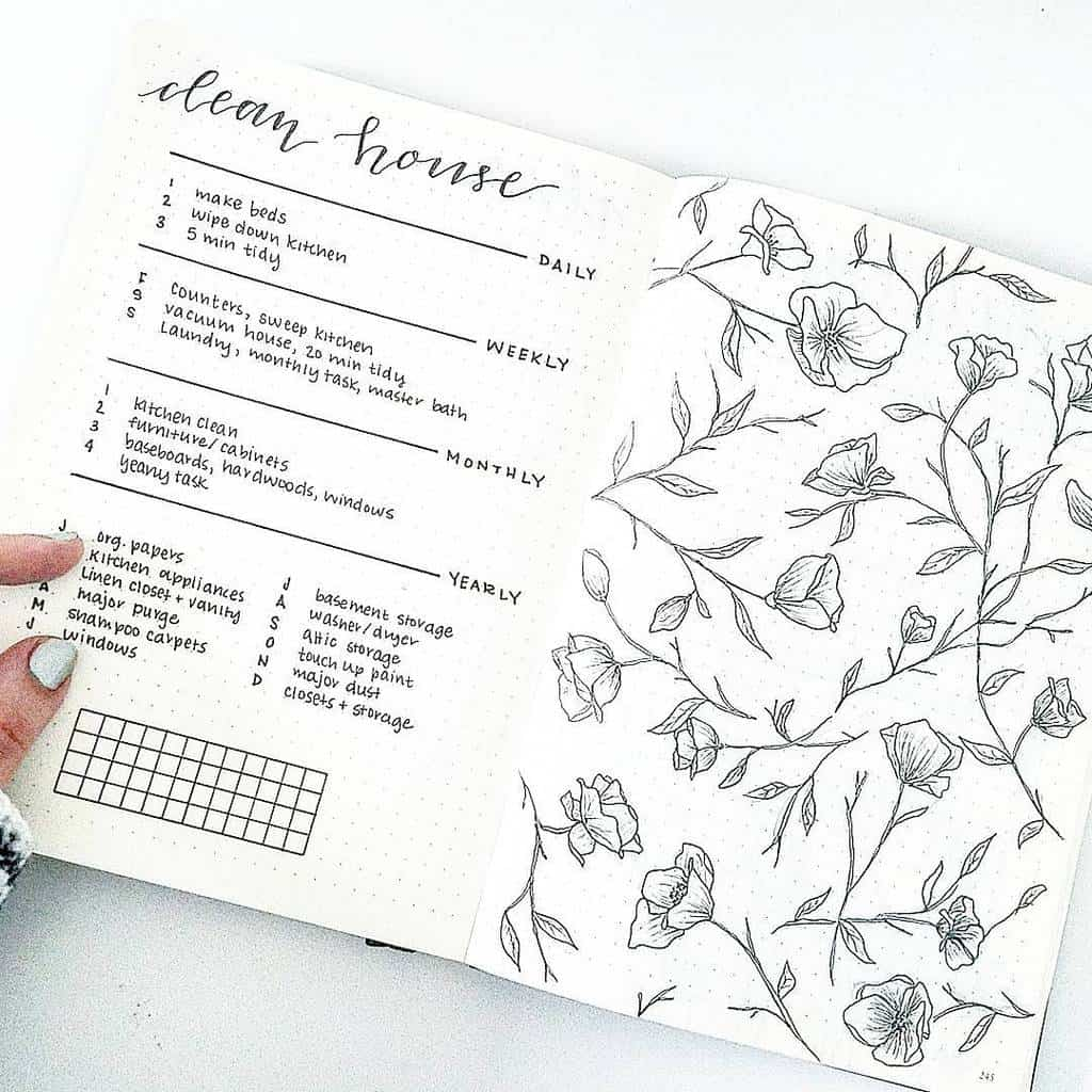 Cleaning Tracker by @bonjournal_ | Masha Plans