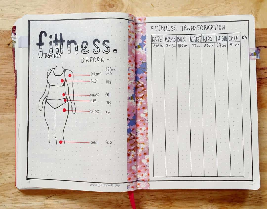 Measurement Tracker by @bujo_charia | Masha Plans