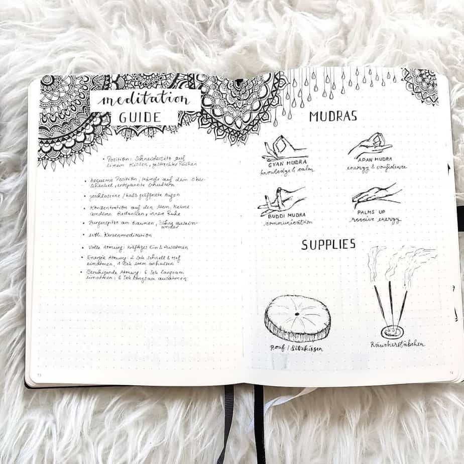 Meditation spread by @bulletjournalbymarieke | Masha Plans