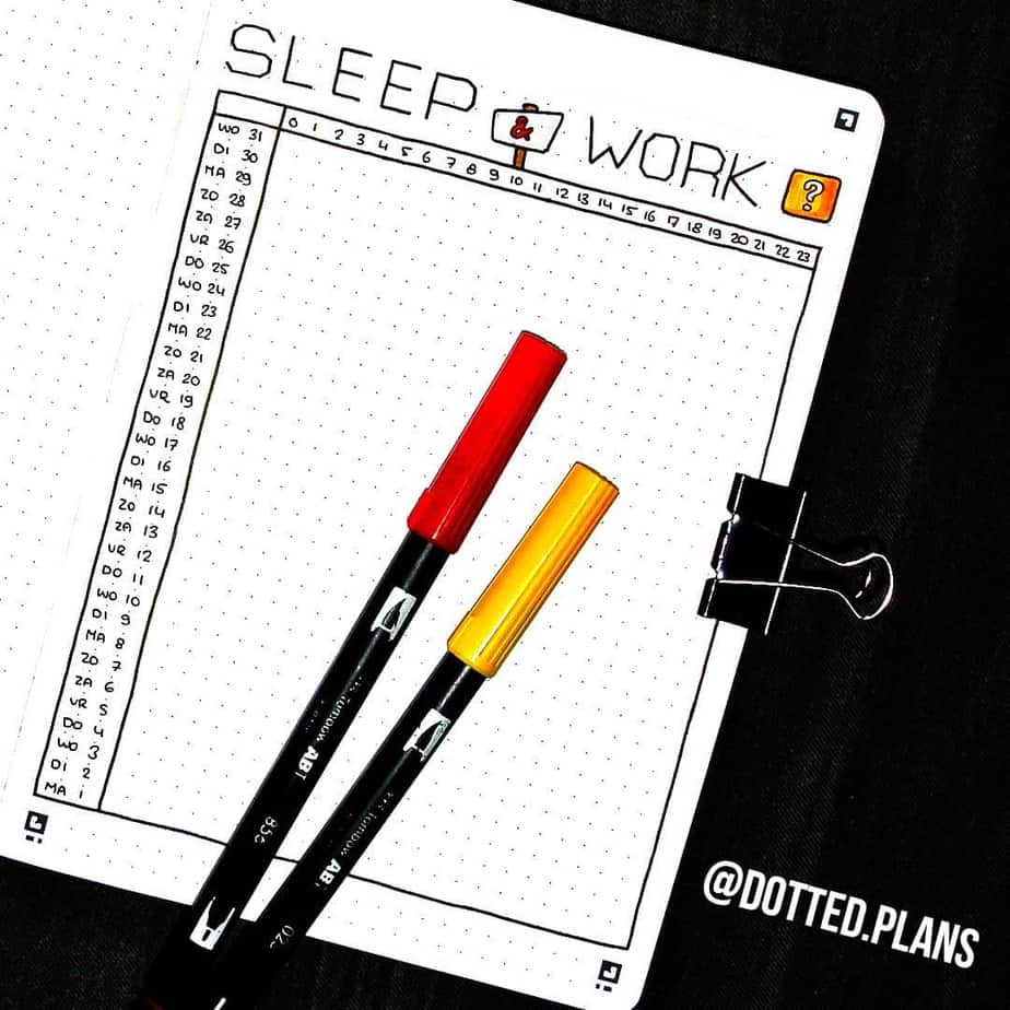 Sleep and Work Tracker by @dotted.plans | Masha Plans