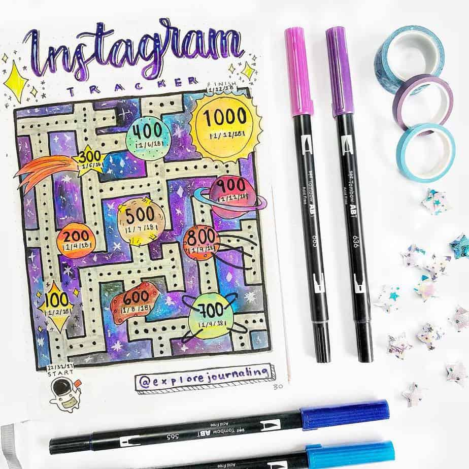 Instagram Tracker by @explorejournaling | Masha Plans