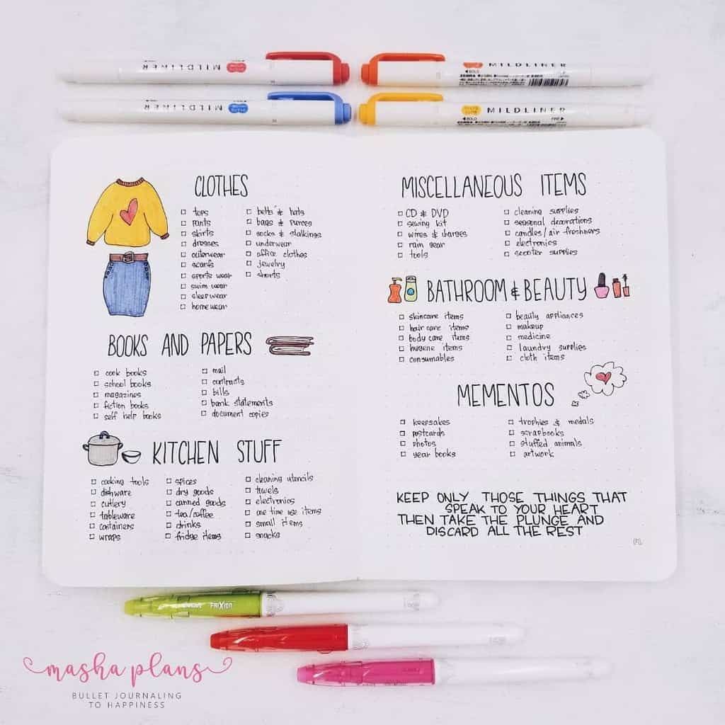 How To Tackle Spring Cleaning In Your Bullet Journal | Masha Plans