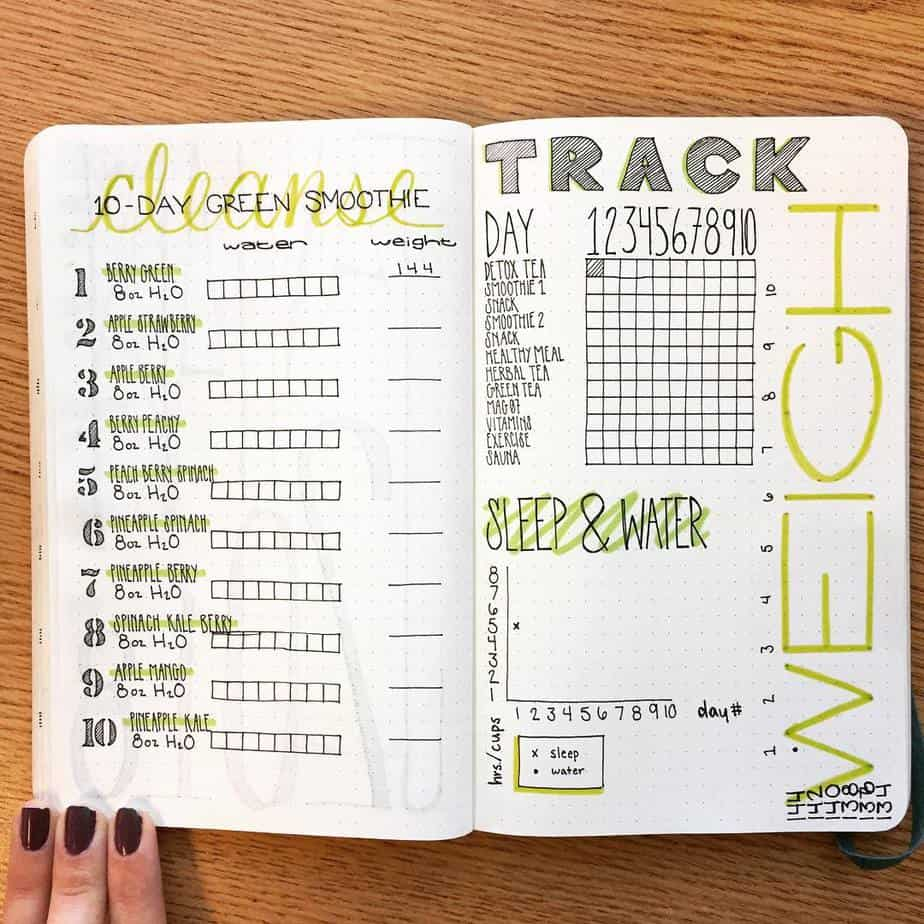 Health Challenge spread by @stl_bujo | Masha Plans