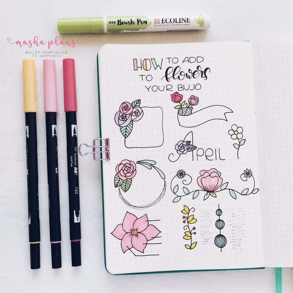 How To Use Flowers In Your Bullet Journal   Masha Plans