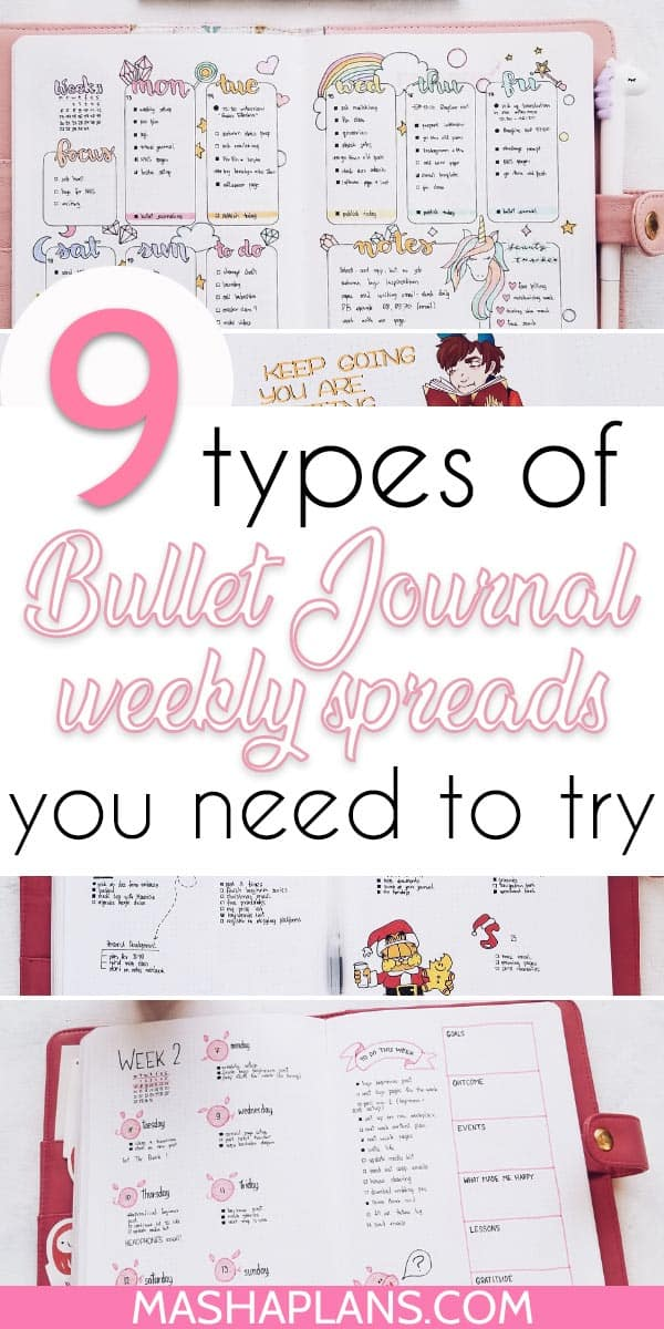 9 Types Of Bullet Journal Weekly Spreads You Need To Try | Masha Plans