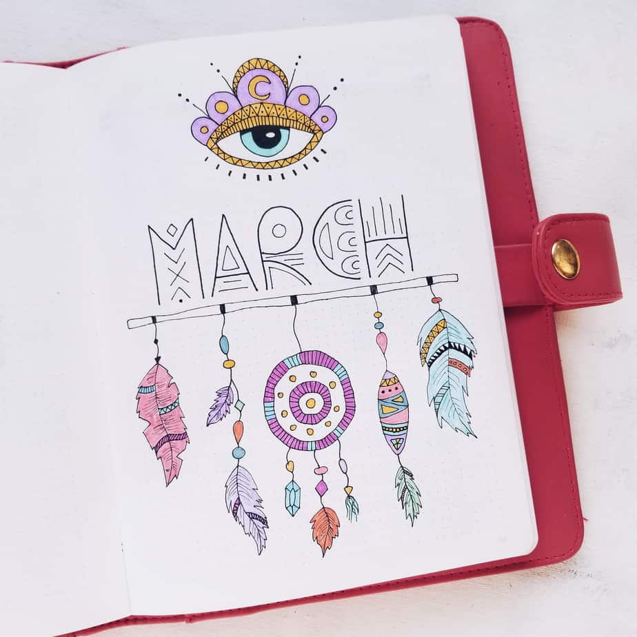 Boho Bullet Journal Theme Inspirations - Cover Page | Masha Plans