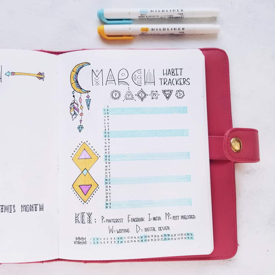 Boho Bullet Journal Theme Inspirations - Monthly Habit Tracker | Masha Plans