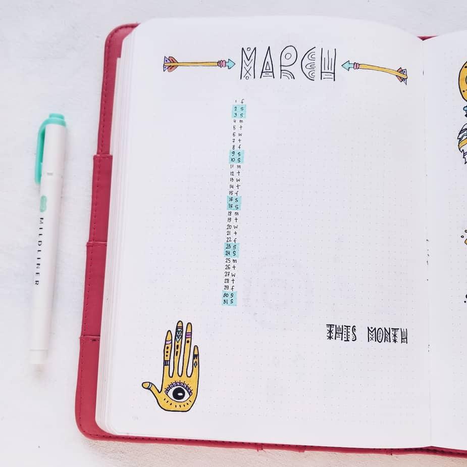 Boho Bullet Journal Theme Inspirations - Monthly Log | Masha Plans